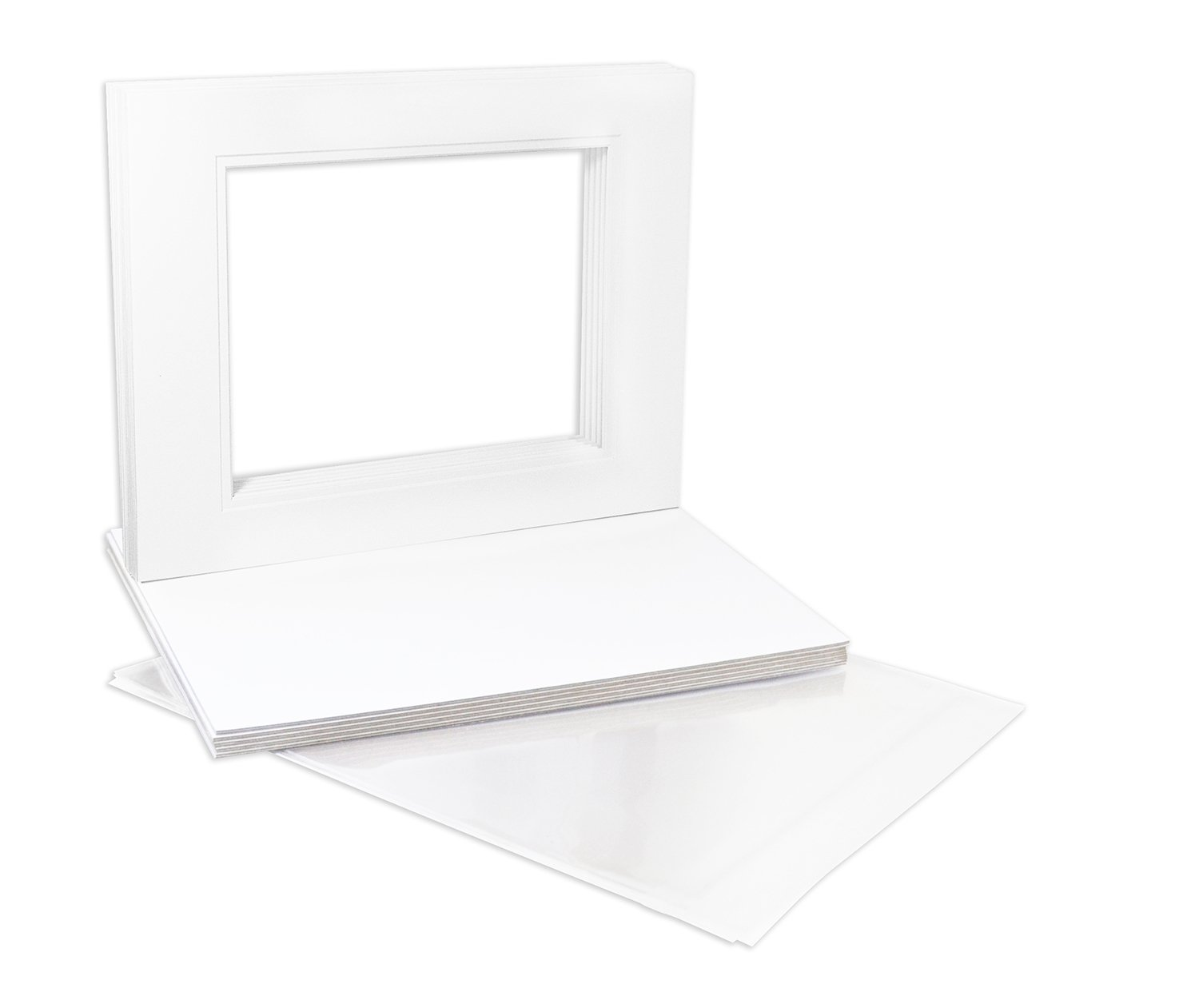 Pack of 10 16x20 White/White Double Mats Mattes with White Core Bevel Cut for 11x14 Photo + Backing + Bags