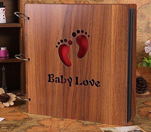 Personalized Scrapbook Albums (B&S FEEL Handmade DIY Wooden Cover Photo Album, Scrapbook Vintage Photo Album Baby Footprint Printed)