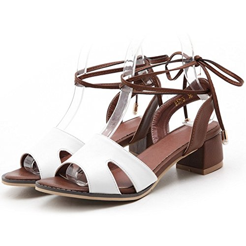 COOLCEPT Mujer Moda Cordones Sandalias Punta Abierta Tacon Ancho Slingback Zapatos Blanco
