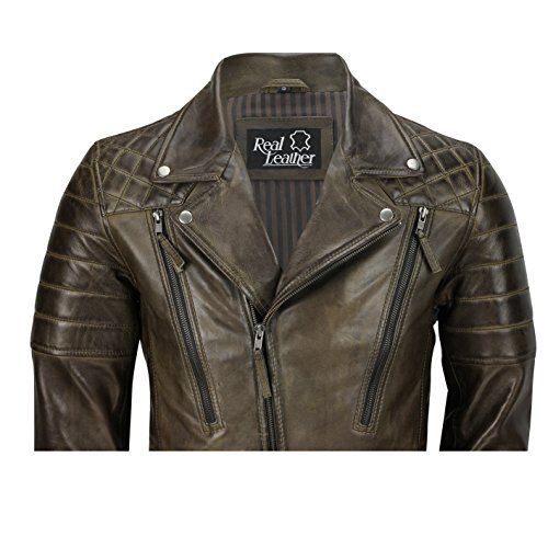 Vera Marrone In Brown Motociclista Casual Da Giacca Pelle Antico Morbida Vintage Diagonali Slavato Uomo Con Stile Cerniere 4XBqnAn8