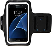 Galaxy S7 Running & Exercise Armband with Key Holder & Reflective Band (Black)