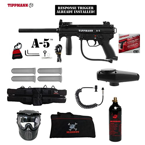MAddog Tippmann A-5 w/Response Trigger Specialist Paintball Gun Package - (Response Trigger System)
