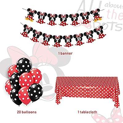 JOYMEMO Minnie Mouse Themed Party Supplies Rojo y Negro para niñas Feliz cumpleaños Banner Lunares Globos Mantel para Fiesta de cumpleaños, ...