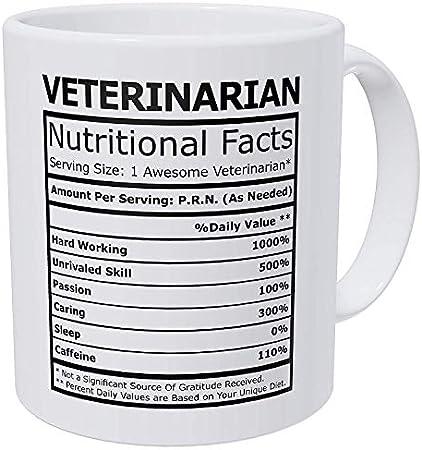 N\A Taza de café Divertida - Información nutricional para Veterinarios Taza de café Divertida de 11 onzas inspiradora y motivadora, Regalo de cumpleaños de Navidad, Taza de té de 11 onzas