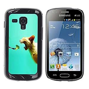 Caucho caso de Shell duro de la cubierta de accesorios de protección BY RAYDREAMMM - Samsung Galaxy S Duos S7562 - Broccoli Fresh Vegan Food Cat Bite Mouth