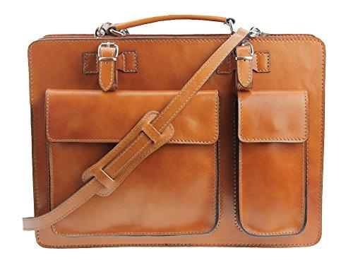 """Sacoche pour ordinateur portable lehrertasche polyvalent en «crown """"- plusieurs coloris disponibles-étui en cuir-fabriqué en italie Cognac"""
