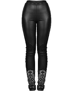 b736828367ecf Punk Women PU Leather Pants Gothic Stretch Tight Black Slim Trousers ...