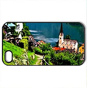 Hallstatt - Austria - Case Cover for iPhone 4 and 4s (Houses Series, Watercolor style, Black)