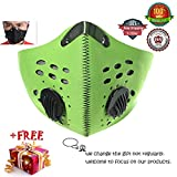 Meanhoo Outdoors Bicycle Mask Anti Pollution Dust Half Face Mask, Activated Carbon Filters Windproof Sport Cycling Mask for Motorcycle Bicycle Cycling Ski Running Bike Mask -Green