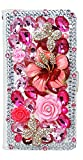 STENES Galaxy Note 9 Case - Stylish - 3D Handmade Bling Crystal Rose Flowers Floral Butterfly Magnetic Wallet Credit Card Slots Fold Stand Leather Cover for Samsung Galaxy Note 9 - Hot Pink