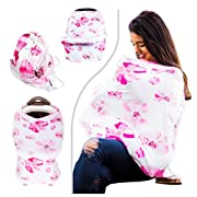 SIKONI Privacy Nursing Cover, Multi Use: Maternity Breastfeeding Fashion Scarf, Stroller Cover, Baby Carseat and High Chair Cover | Unisex Color Floral | Includes Carry Bag & Pacifier Holder |