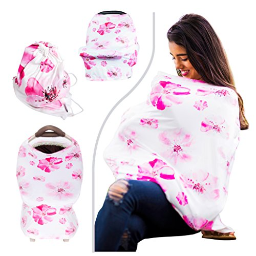 SIKONI Privacy Nursing Cover, Multi Use: Maternity Breastfeeding Fashion Scarf, Stroller Cover, Baby Carseat and High Chair Cover | Unisex Color Floral | Includes Carry Bag & Pacifier Holder | (Seat Car Floral Toddler Cover)