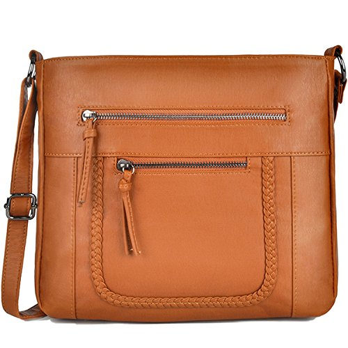 Crossbody Bags for Women,Lightweight Washed Crossbody Bag for Work School by Sunny Snowy (8027,brown)