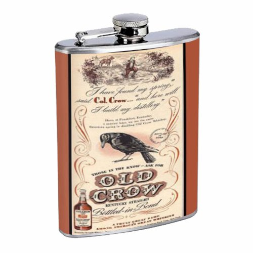 Old Crow Kentucky Whiskey Vintage Ad 8OZ Stainless Steel ...