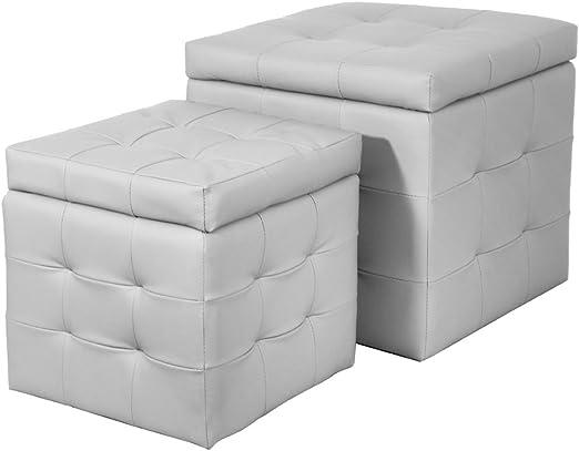 SANYAN LIMITED X2 Puf Puff Caja sintética Blanco Muebles Interior Design biscubeluxury/B: Amazon.es: Hogar