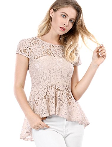 Allegra K Women's Cap Sleeves High Low Hem Lace A Line Peplum Top Pink L (US 14)
