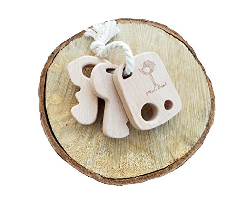 Wooden keychain Baby Teether Rattle- untreated organic Natural wooden keys with starter