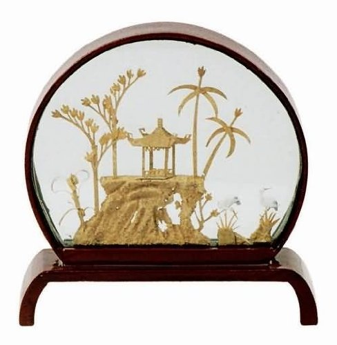 Asian Home Handcraft Cork Sculpture in Glass Display Case