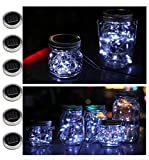 6 pack solar jar lids for mason jars with 20 led fairy string lights(jars & handles not included),