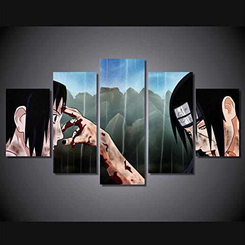 Anime manga Naruto Sasuke Uchiha vs Itachi Uchiha print poster canvas decoration 5 pieces