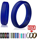 Blue Silicone Wedding Ring Band for Him and Her - Size 13 Superior 6mm Rubber Rings - Premium Quality, Style, Safety, Comfort - Ideal...