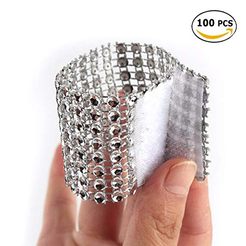 Yuengs 100 PCS Napkin Rings Sparkly Adornment for Wedding/Shower / Party - Velcro Napkins wrap (Silver)