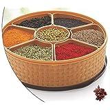 Anika Handicrafts Masala Rangoli Box (Dabba) - 7 Sections, 1000ml, Plastic Colour May Vary