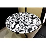 "KLEO 36"" Black and White Handcrafted Marble Pietre Dure Pietra Dura Table Top (without stand)"