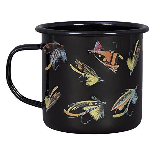 Sportsman's Fishing Hooks Camping Enamel Mug, Black
