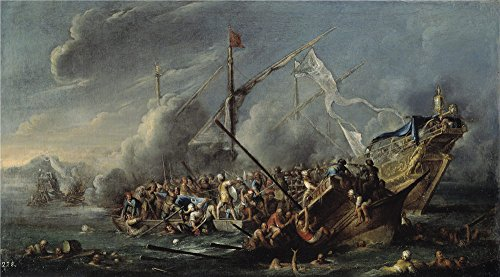 Oil Painting 'Wael Cornelis De Combate Naval Entre Espanoles Y Turcos 17 Century' 16 x 29 inch / 41 x 73 cm , on High Definition HD canvas prints is for Gifts And Bar, Dining Room And Home The decor
