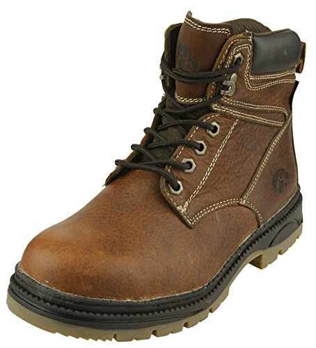 Iowa Hawkeyes NCAA Mens Rounded Steel Toe Lace up Leather Work Boots, Brown (Hawkeyes Football Brown Iowa)