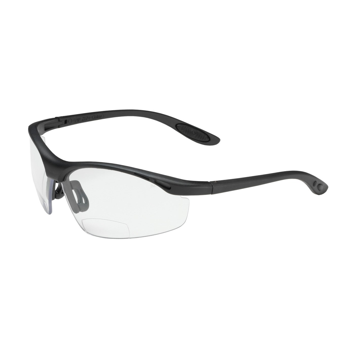 Mag Readers 250-25-0010 Semi-Rimless Safety Readers with Black Frame, Clear Lens and Anti-Scratch Coating - +1.00 Diopter