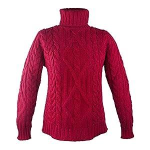100% Irish Merino Wool Turtle Neck Aran Sweater by West End Knitwear