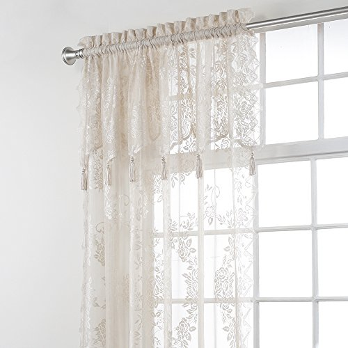 "Stylemaster Home Products Carly Lace Panel with Attached Valance, 56"" X 84"", Linen"