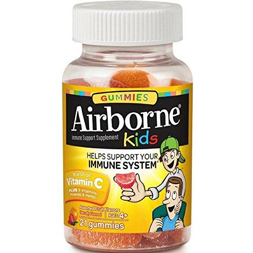 Airborne Kids Gummies Vitamin 667mg Immune Support Supplement, Assorted Fruit Flavors, 21 ct