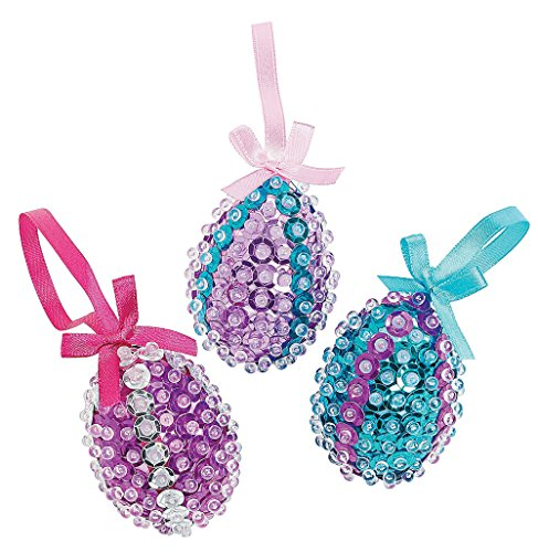 Sparkling Sequined Foam Egg Ornament Craft Kit - Easter Craft Hobby Supplies-makes (Sequin Ornaments)