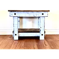 Rustic Handcrafted Reclaimed End Table - Easy Self Assembly - White