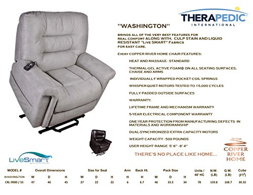Power Seat Lift Chair Recliner by Therapedic – Wall Hugger, Heat & Massage, Cooling Gel Foam, Dual Motors, 3 Position full recline, Hand Remote Operation - Premium Comfort by a Trusted Brand