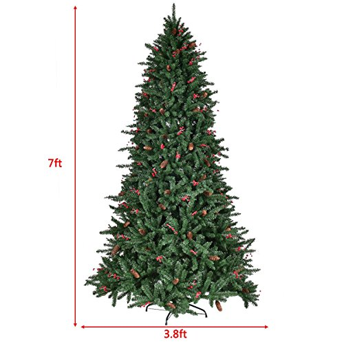 BeUniqueToday 7' Artificial PVC Christmas Tree Hinged w/Pine Cones & Red Berries Seasonal Décor 1918 Tips
