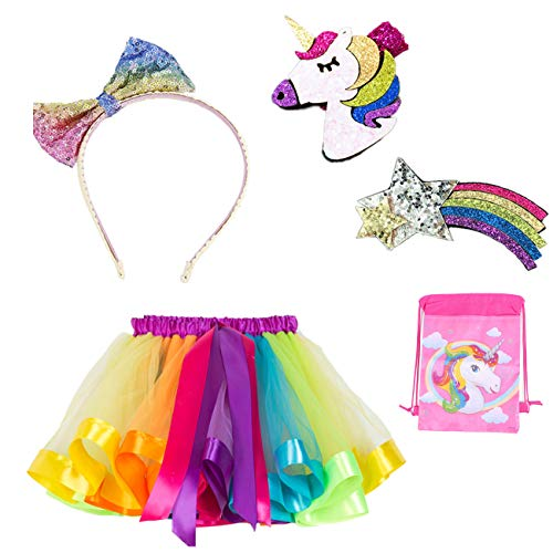 Kyerivs Tutu Skirt for Little Girls 2-11Y Dress Up with Unicorn Rainbow Hairbow and Bow-Knot Headband, Tiered Ruffle Layered Ballet Tulle for Dance Dress, Birthday Unicorn Hallowee Party (S, Rainbow) ()