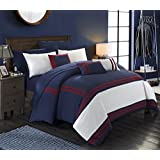 Chic Home 10 Piece Zarah Supersoft Oversized Pieced Color Block Banding Collection Comforter Set, King, Navy