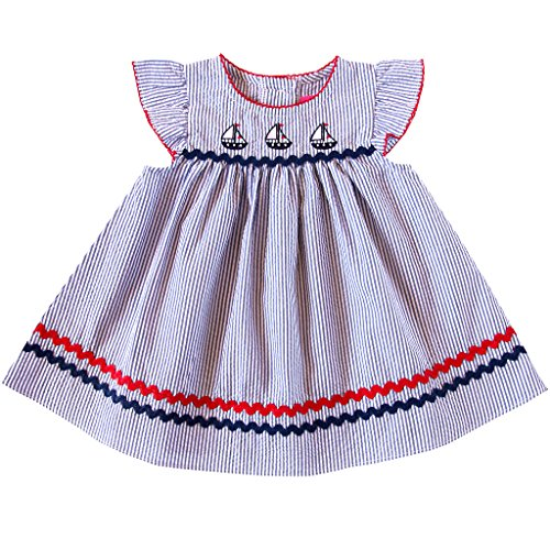 Sundress Seersucker (Good Lad 2/6X Girls Seersucker Sundress with Nautical Appliques (3T))