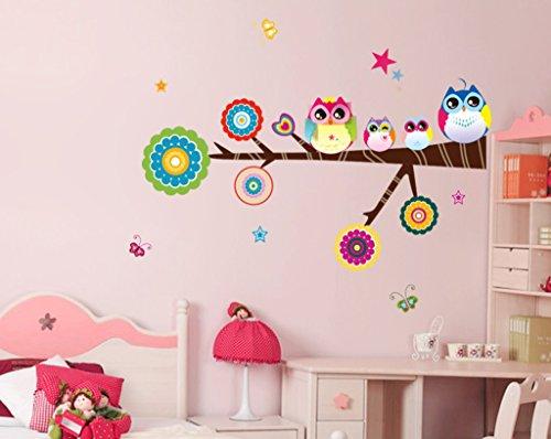 Decals Design 'Lovely Star Owl family' Wall Sticker (PVC Vinyl, 25 cm x 70 cm)