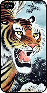 Fierce Tiger Painting - Case for the Apple Iphone 4-4s Universal- Hard Black Plastic Snap On Case