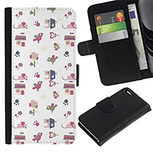 KingStore / Leather Etui en cuir / Apple Iphone 4 / 4S / Papel regalo Modelo blanco lindo del dibujo