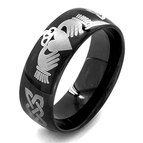 Men's Black Plated Stainless Steel Claddagh Ring (8 mm) - Size 9