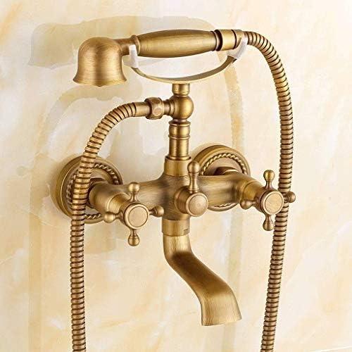 伝統的なクロスハンドル2ハンドル壁掛けバスタブ蛇口アンティークブラスシャワーシステムハンドシャワーセット