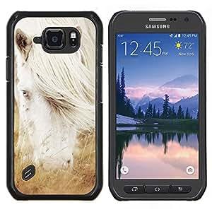 EJOOY---Cubierta de la caja de protección para la piel dura ** Samsung Galaxy S6Active Active G890A ** --Albino caballo blanco del semental