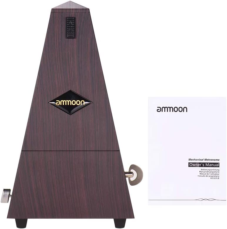ammoon Universal Pyramid Mechanical Metronome ABS Material for Guitar Violin Piano Bass Musical Instrument Practice Tool for Beginners-Reddish Brown
