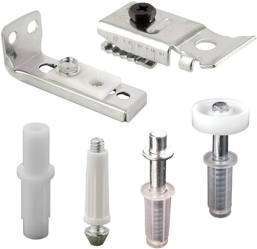 "Prime-Line N 7534 Bi-Fold Door Hardware Repair Kit – Includes Top and Bottom Brackets, Top and Bottom Pivots and Guide Wheel – Door Repair Kit for 1' to 1-3/8"" Thick Doors Up To 50 Lbs."